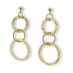 Hammered Circle 14kt Dangle Earrings