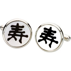 Onyx and Mother of Pearl Cufflinks with Longevity Symbol