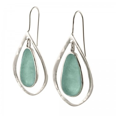 Roman Glass Tear Drop Earrings