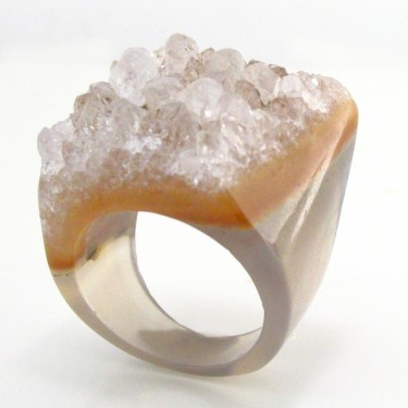 Translucent Brazilian Agate Ring Size 6