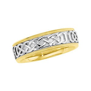 Two Tone Celtic Wedding Band 7mm Wide