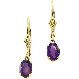 2ct Amethyst and 14kt Yellow Gold Earrings