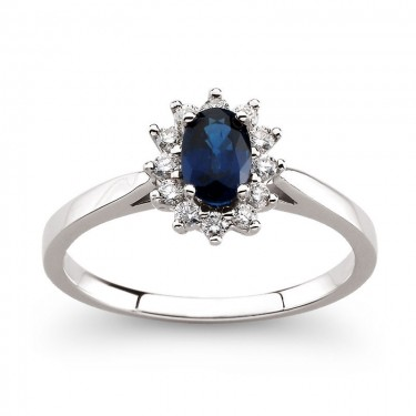 Sapphire and Diamond Ring in 14kt White Gold