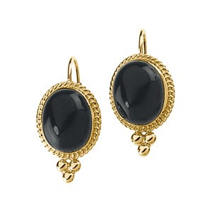 Genuine Onyx Earrings in 14kt Yellow Gold