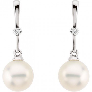 Cultured Pearl and Diamond Dangle Earrings