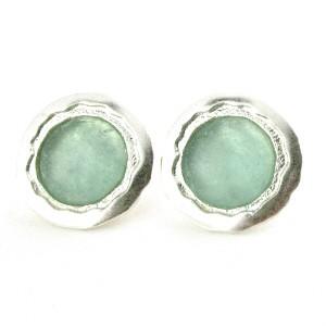 Round Sea Green Roman Glass Earrings