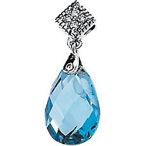 3.50 ct Medium Blue Topaz with Diamonds