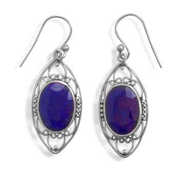 Natural Faceted Sapphires in Sterling Earrings