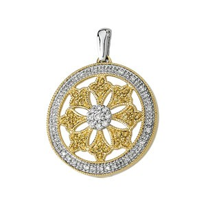 Natural Yellow & White Diamond Circle Pendant