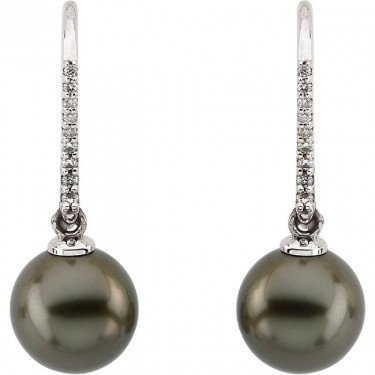 Tahitian Cultured Pearl and Diamond Earrings