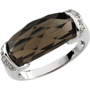 Smoky Topaz and Diamond 14kt Gold Ring