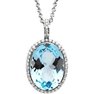 15ct   Carat Sky Blue Topaz and Diamond Pendant