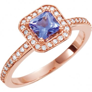 Tanzanite and Diamonds in Rose Gold