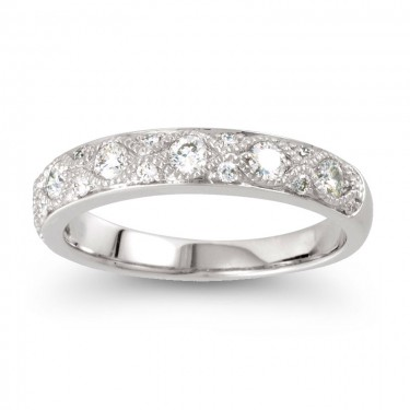 1/2 Ct. Filigree Diamond Band in 14kt White Gold