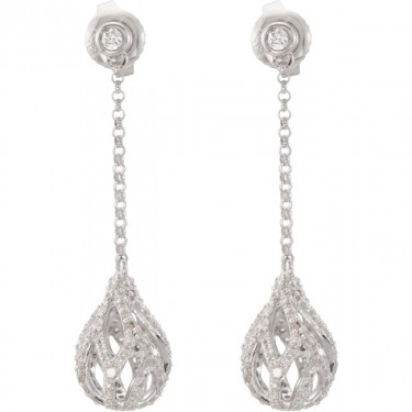 Diamond Drop Ball Earrings