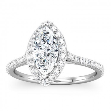 Marquise Shaped Diamond Halo Ring Setting
