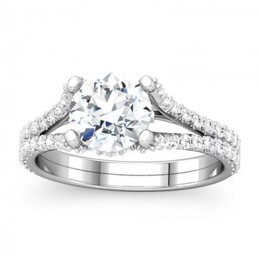 Round Diamond Split Shank Ring Setting