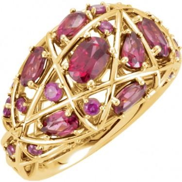 Rhodolite Garnet Nest Design Ring