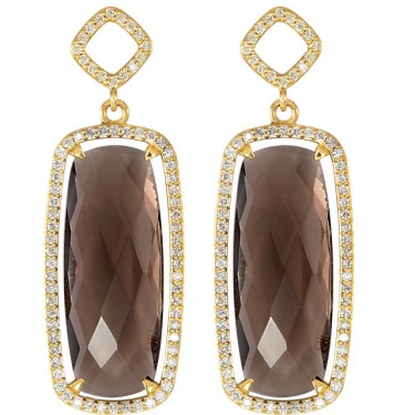 Chocolate Quartz with Diamonds in 14kt Earrings