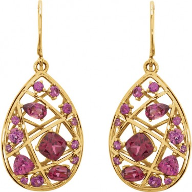 Rhodolite Garnet Nest Design Earrings