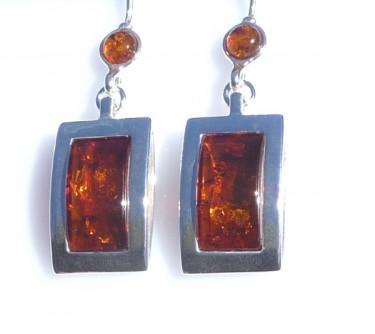 Red Amber Drop Earrings