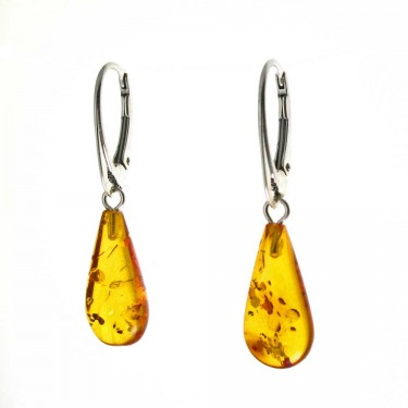 Golden Amber Drop Earrings