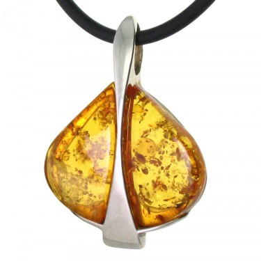 Contemporary Golden Amber Pendant