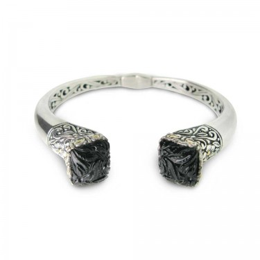 Carved Black Onyx in Hinged Bangle
