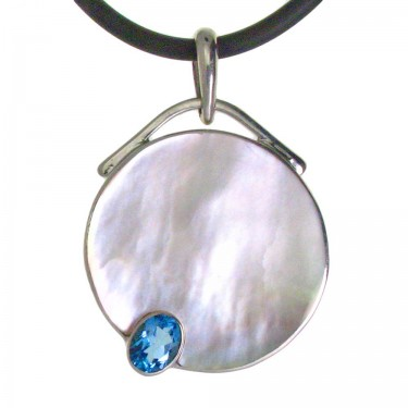 Gold Lip Oyster Shell and Blue Topaz Pendant