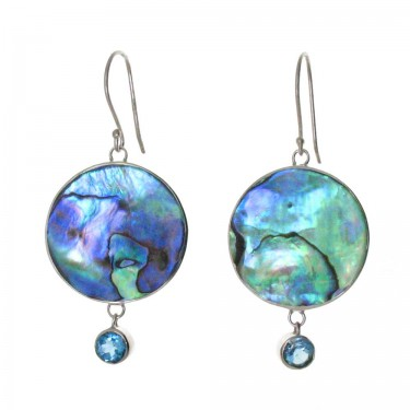 Paua Shell and Blue Topaz Earrings