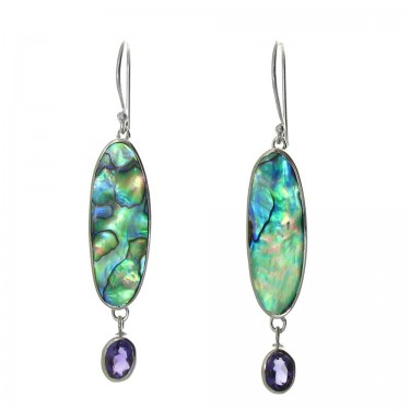 Paua Shell and Amethyst Earrings