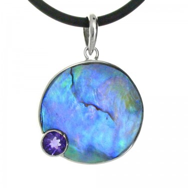 Paua Shell and Amethyst Pendant