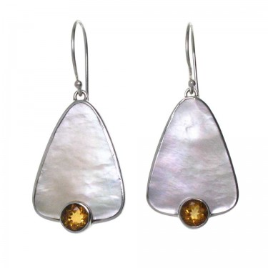 Gold Lip Oyster Shell and Citrine Earrings