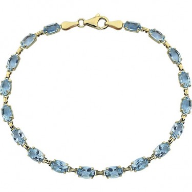 Blue Topaz in 14kt Gold Bracelet