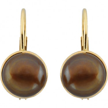 Chocolate Cultured Pearl Lever Back Earrings