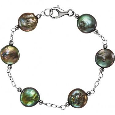 Freshwater Black Coin Pearl Bracelet