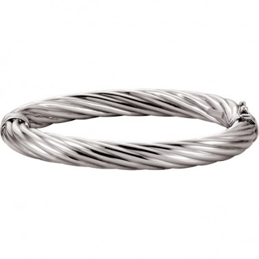 Sterling Silver Ribbed Bangle