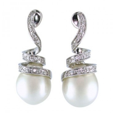 South Sea Pearl and Diamond Fashion Earrings
