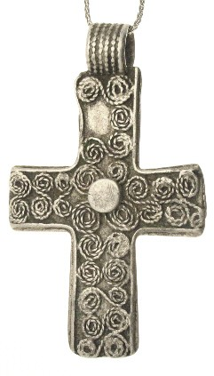 Coiled Silver Wire Coptic Christian Cross