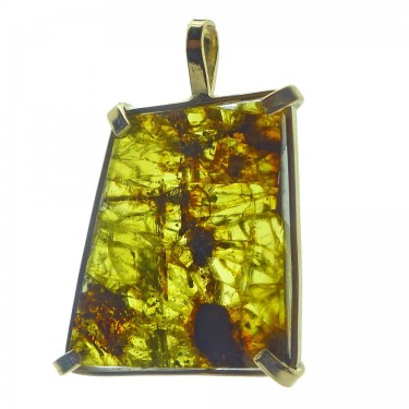 Pallasite from Fukang China in 14kt Gold Pendant