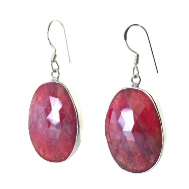 Natural Faceted Ruby Pendant and Earring Set