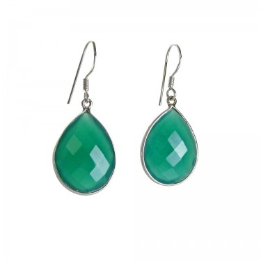 Smaller Size Faceted Green Agate Earrings