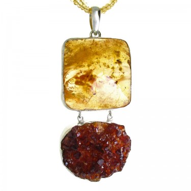 Natural Citrine Crystal and Amber Pendant