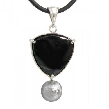 Onyx and Meteorite Pendant