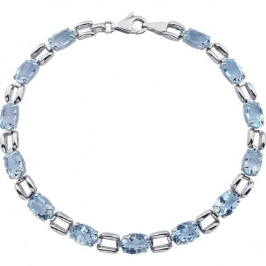 Larger Blue Topaz in 14kt  White Gold Bracelet