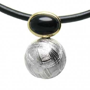 A Meteorite and Black Onyx Ball Pendant