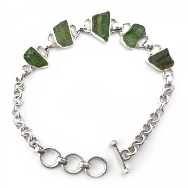Natural Unfaceted Moldavite Bracelet