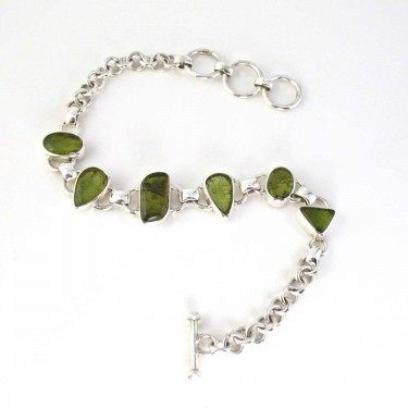 Polished Moldavite in a Silver Bracelet
