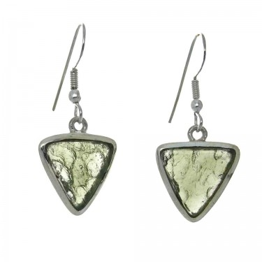 Triangular Cut Moldovite Earrings