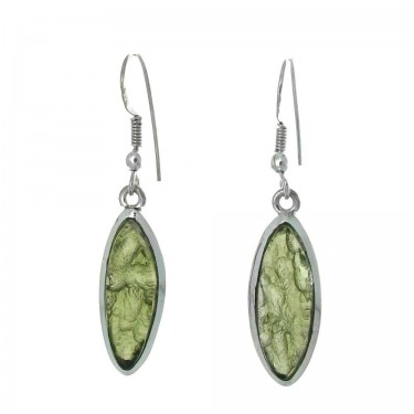 Marquise Cut Moldovite Earrings